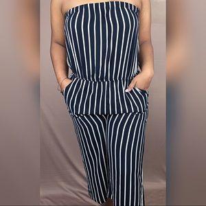 Black & white striped Jumpsuit